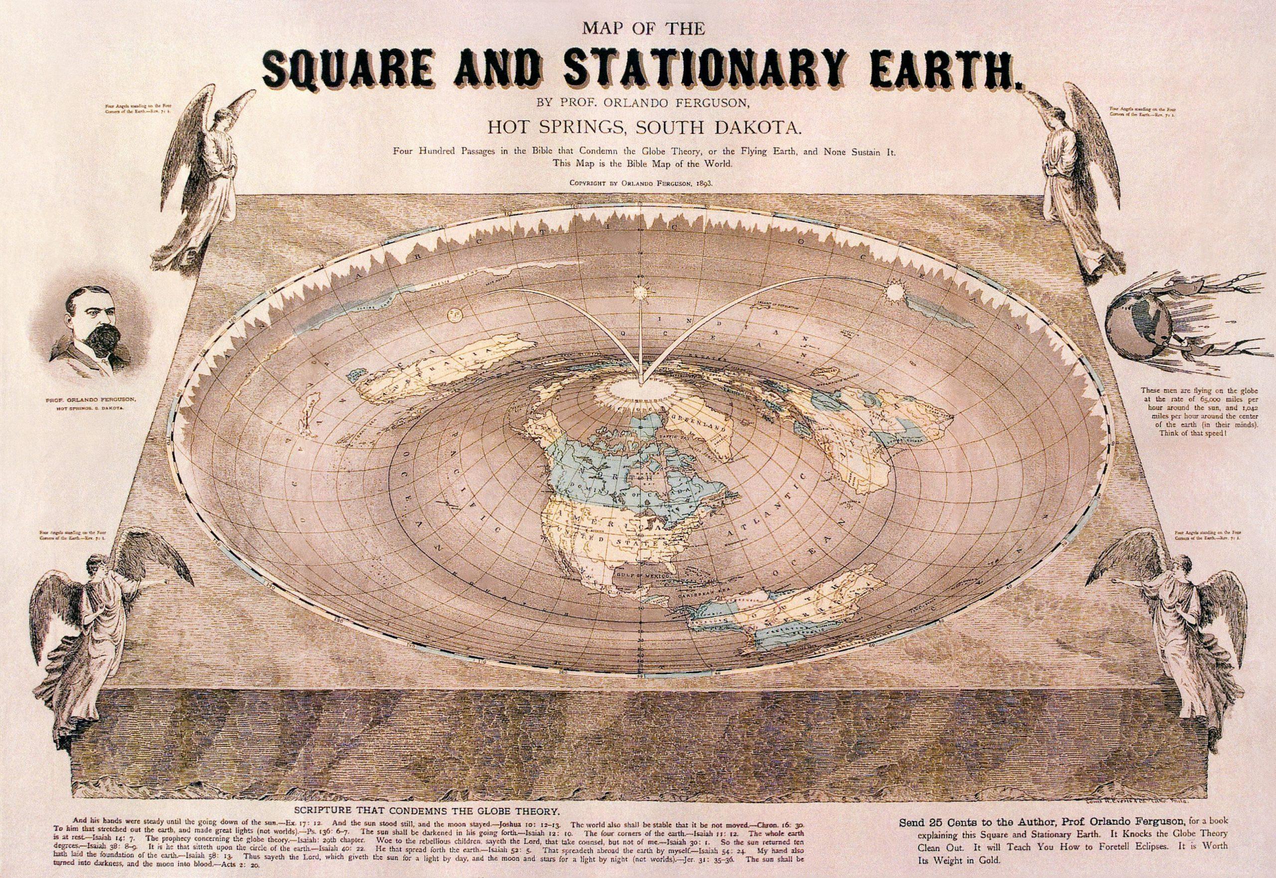 Flat Earth map drawn by Orlando Ferguson in 1893